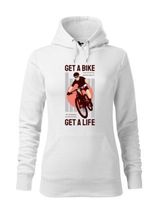 """Biała, wkładana bluza damska typu """"kangur"""", z kolorowym nadrukiem kolarza MTB oraz napisem Get A Bike, Get A Life"""