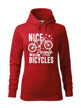 """Czerwona, wkładana bluza damska typu """"kangur"""", z grafiką roweru oraz czarnym napisem Nice People Ride Bicycles."""