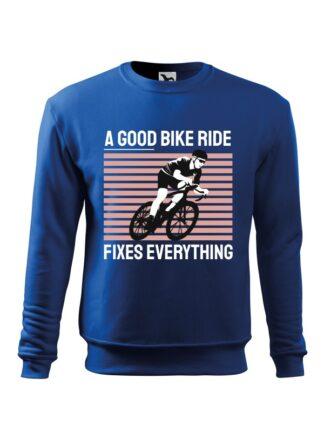 Niebieska, wkładana bluza męska bez kaptura, z kolorowym nadrukiem kolarza szosowego oraz napis A Good Bike Ride Fixes Everything.