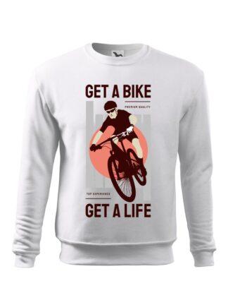 Biała, wkładana bluza męska bez kaptura, z kolorowym nadrukiem kolarza MTB oraz napisem Get A Bike, Get A Life.