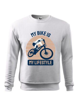 Biała, wkładana bluza męska bez kaptura, z kolorowym nadrukiem kolarza MTB oraz napisem My Bike Is My Lifestyle.