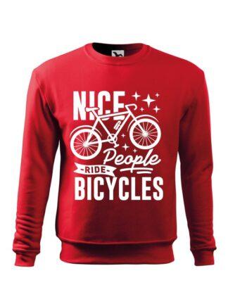 Czerwona, wkładana bluza męska bez kaptura, z grafiką roweru oraz czarnym napisem Nice People Ride Bicycles.