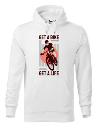 """Biała, wkładana bluza męska typu """"kangur"""", z kolorowym nadrukiem kolarza MTB oraz napisem Get A Bike, Get A Life"""