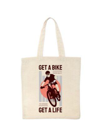 Ekotorba bawełniana w kolorze ecru z kolorowym nadrukiem kolarza MTB oraz napisem Get A Bike, Get A Life.