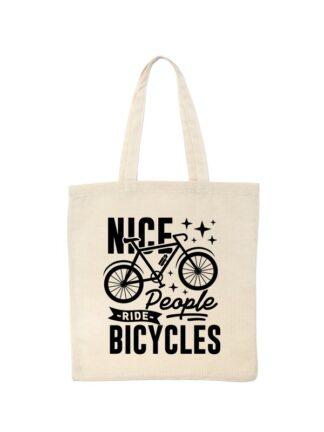 Ekotorba bawełniana w kolorze ecru z grafiką roweru oraz czarnym napisem Nice People Ride Bicycles.