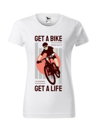 Biała koszulka damska z krótkim rękawem. Kolorowy nadruk kolarza MTB oraz napis Get A Bike, Get A Life.