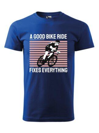 Niebieska koszulka męska z krótkim rękawem. Kolorowy nadruk kolarza szosowego oraz napis A Good Bike Ride Fixes Everything.