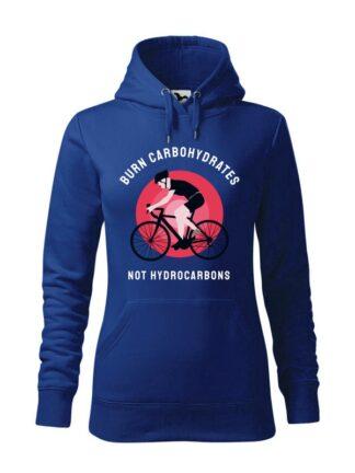 """Niebieska, wkładana bluza damska typu """"kangur"""", z kolorowym nadrukiem kolarza szosowego oraz napisem Burn Carbohydrates, Not Hydrocarbons."""
