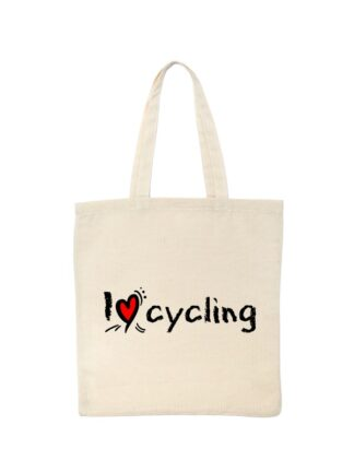 Ekotorba bawełniana w kolorze ecru ze stylizowanym, czarnym napisem I Love Cycling.