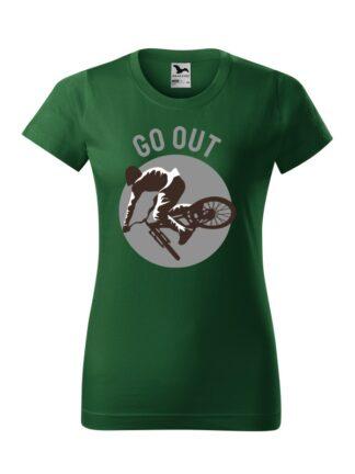 Zielona koszulka damska z krótkim rękawem. Nadruk kolarza MTB oraz napis Go Out.