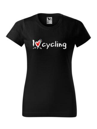 Czarna koszulka damska z krótkim rękawem oraz stylizowanym, białym napisem I Love Cycling.