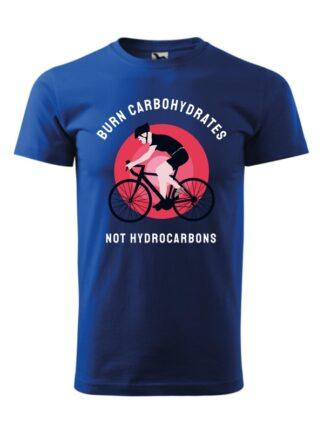 Niebieska koszulka męska z krótkim rękawem. Kolorowy nadruk kolarza szosowego oraz napis Burn Carbohydrates, Not Hydrocarbons.