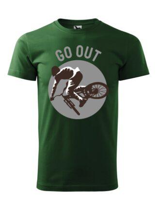Zielona koszulka męska z krótkim rękawem. Nadruk kolarza MTB oraz napis Go Out.