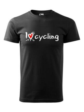 Czarna koszulka męska z krótkim rękawem oraz stylizowanym, białym napisem I Love Cycling.