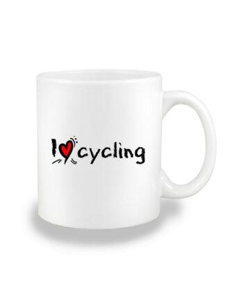 Biały kubek ceramiczny ze stylizowanym, czarnym napisem I Love Cycling.
