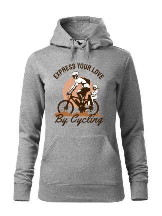 """Szara, wkładana bluza damska typu """"kangur"""", z kolorowym nadrukiem rowerzysty z dzieckiem w siedzisku. Grafika opatrzona napisem Express Your Love By Cycling."""
