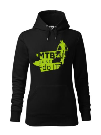 "Czarna, wkładana bluza damska typu ""kangur"", z zielonym nadrukiem kolarza MTB oraz napisem MTB? Just Do It."