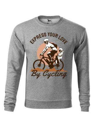Szara, wkładana bluza męska bez kaptura, z kolorowym nadrukiem rowerzysty z dzieckiem w siedzisku. Grafika opatrzona napisem Express Your Love By Cycling.