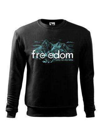 Czarna, wkładana bluza męska bez kaptura, z błękitnym nadrukiem roweru MTB wkomponowanym w napis Freedom. W tle rysunek kreskowy wysokich gór.