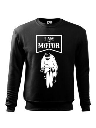 Czarna, wkładana bluza męska bez kaptura, z białym nadrukiem kolarza torowego oraz napisem I Am The Motor.