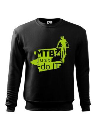 Czarna, wkładana bluza męska bez kaptura, z zielonym nadrukiem kolarza MTB oraz napisem MTB? Just Do It.
