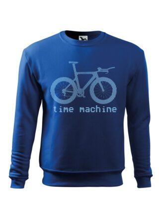Niebieska, wkładana bluza męska bez kaptura, z błękitną grafiką roweru czasowego oraz napisem Time Machine.