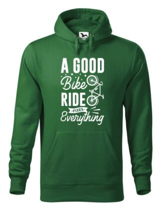 """Zielona, wkładana bluza męska typu """"kangur"""", z białym, stylizowanym napisem A Good Bike Ride Fixes Everything."""