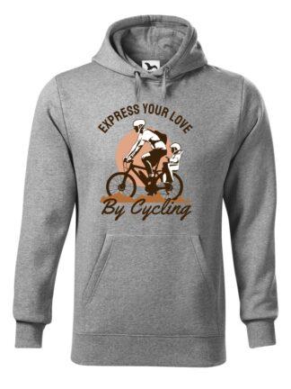 """Szara, wkładana bluza męska typu """"kangur"""", z kolorowym nadrukiem rowerzysty z dzieckiem w siedzisku. Grafika opatrzona napisem Express Your Love By Cycling."""