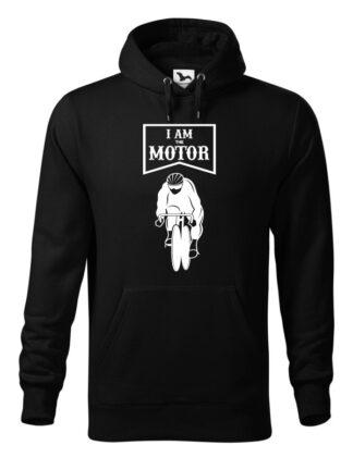 """Czarna, wkładana bluza męska typu """"kangur"""", z białym nadrukiem kolarza torowego oraz napisem I Am The Motor."""