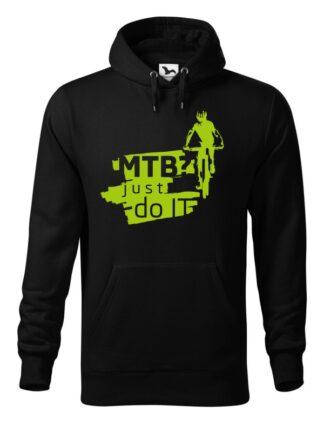 "Czarna, wkładana bluza męska typu ""kangur"", z zielonym nadrukiem kolarza MTB oraz napisem MTB? Just Do It."