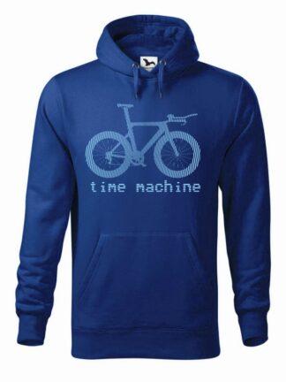 """Niebieska, wkładana bluza męska typu """"kangur"""", z błękitną grafiką roweru czasowego oraz napisem Time Machine."""