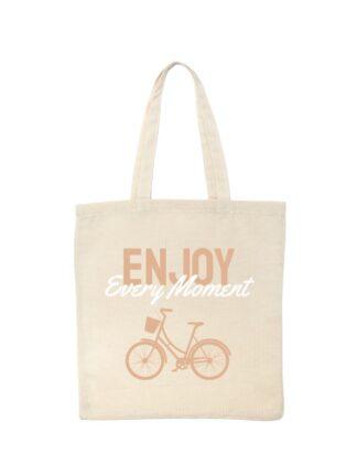 Ekotorba bawełniana w kolorze ecru z beżowo-białym napisem Enjoy Every Moment oraz rysunkiem roweru miejskiego.