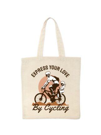 Ekotorba bawełniana w kolorze ecru z kolorowym nadrukiem rowerzysty z dzieckiem w siedzisku. Grafika opatrzona napisem Express Your Love By Cycling.