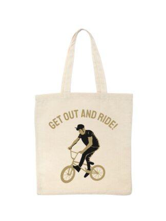 Ekotorba bawełniana w kolorze ecru z nadrukiem rowerzysty BMX oraz napis Get Out And Ride.