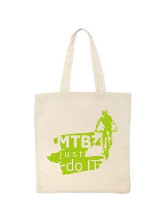 Ekotorba bawełniana w kolorze ecru z zielonym nadrukiem kolarza MTB oraz napisem MTB? Just Do It.