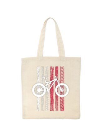 Ekologiczna ekotorba bawełniana w kolorze ecru, z nadrukiem roweru MTB na tle flagi Polski. Flaga utworzona jest ze śladów opon rowerowych.