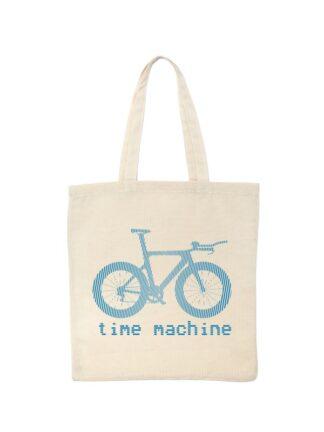Ekotorba bawełniana w kolorze ecru z niebieską grafiką roweru czasowego oraz napisem Time Machine.