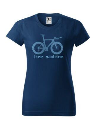 Granatowa koszulka damska z krótkim rękawem. Błękitna grafika roweru czasowego oraz napis Time Machine.