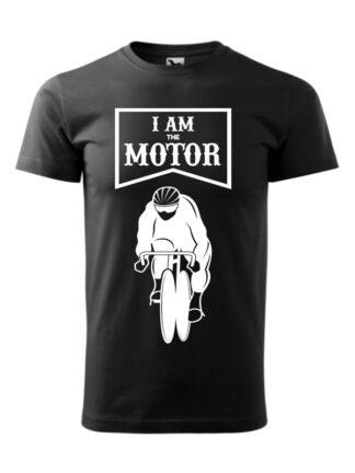 Czarna koszulka męska z krótkim rękawem. Biały nadruk kolarza torowego oraz napis I Am The Motor.
