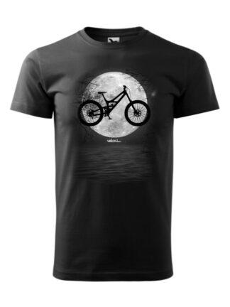 Czarna koszulka męska z krótkim rękawem i czarno-białym nadrukiem roweru MTB na tle księżyca.