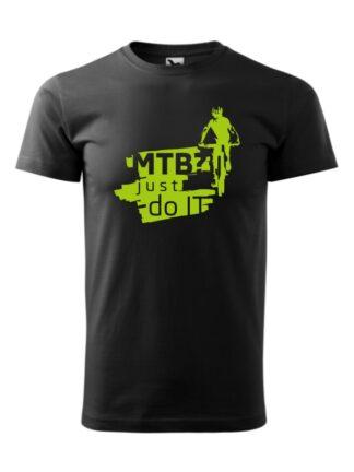 Czarna koszulka męska z krótkim rękawem. Zielony nadruk kolarza MTB oraz napis MTB? Just Do It.