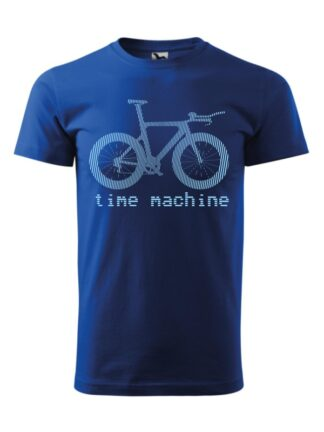 Niebieska koszulka męska z krótkim rękawem. Błękitna grafika roweru czasowego oraz napis Time Machine.