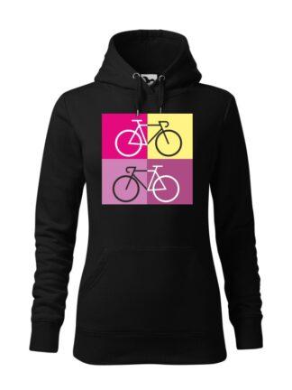 """Czarna, wkładana bluza damska typu """"kangur"""", z sylwetką rowerów szosowych na tle kolorowych kwadratów."""