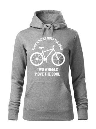 """Szara, wkładana bluza damska typu """"kangur"""", z białą sylwetką roweru i białym napisem Four Wheels Move The Body, Two Wheels Move The Soul."""