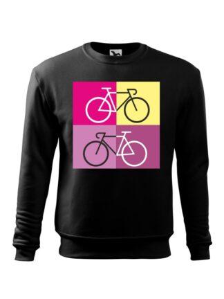 Czarna, wkładana bluza męska bez kaptura, z sylwetką rowerów szosowych na tle kolorowych kwadratów.