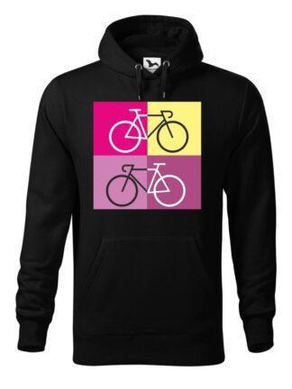 """Czarna, wkładana bluza męska typu """"kangur"""", z sylwetką rowerów szosowych na tle kolorowych kwadratów."""