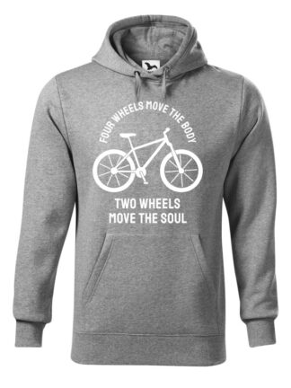 """Szara, wkładana bluza męska typu """"kangur"""", z białą sylwetką roweru i białym napisem Four Wheels Move The Body, Two Wheels Move The Soul."""