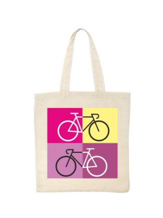 Ekotorba bawełniana w kolorze ecru z sylwetką rowerów szosowych na tle kolorowych kwadratów.