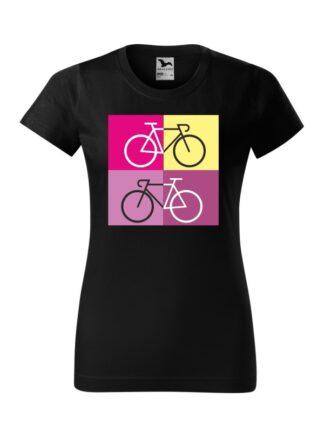 Czarna koszulka damska z krótkim rękawem i sylwetką rowerów szosowych na tle kolorowych kwadratów.