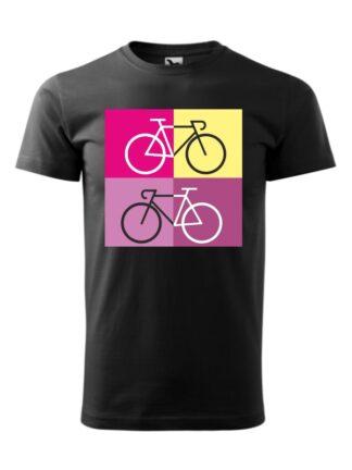 Czarna koszulka męska z krótkim rękawem i sylwetką rowerów szosowych na tle kolorowych kwadratów.